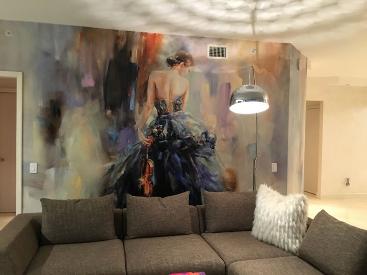 Custom wall design for Florida house - hand embellished giclees glued on a drywall